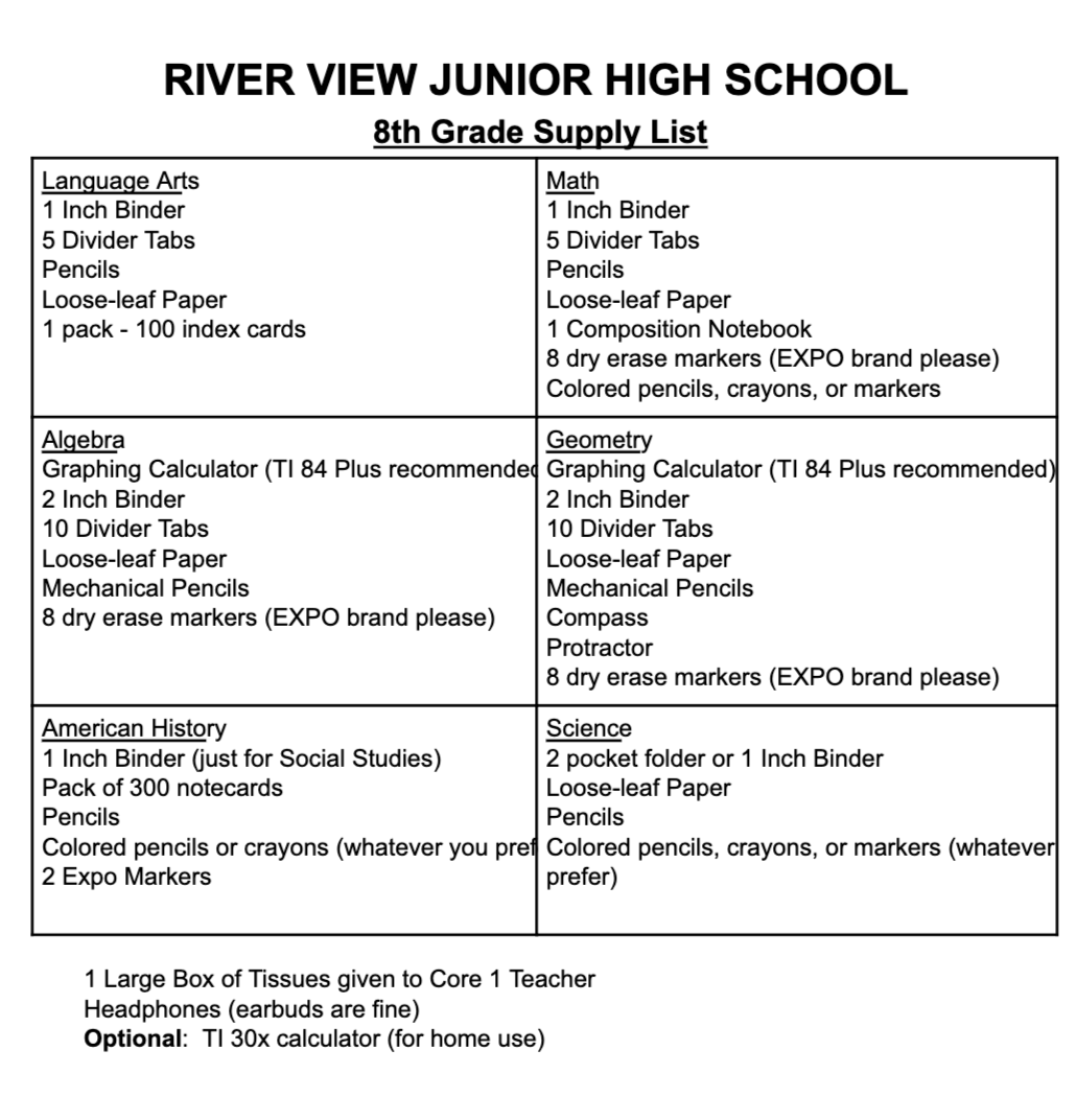 Junior High Supply Lists - River View Local Schools