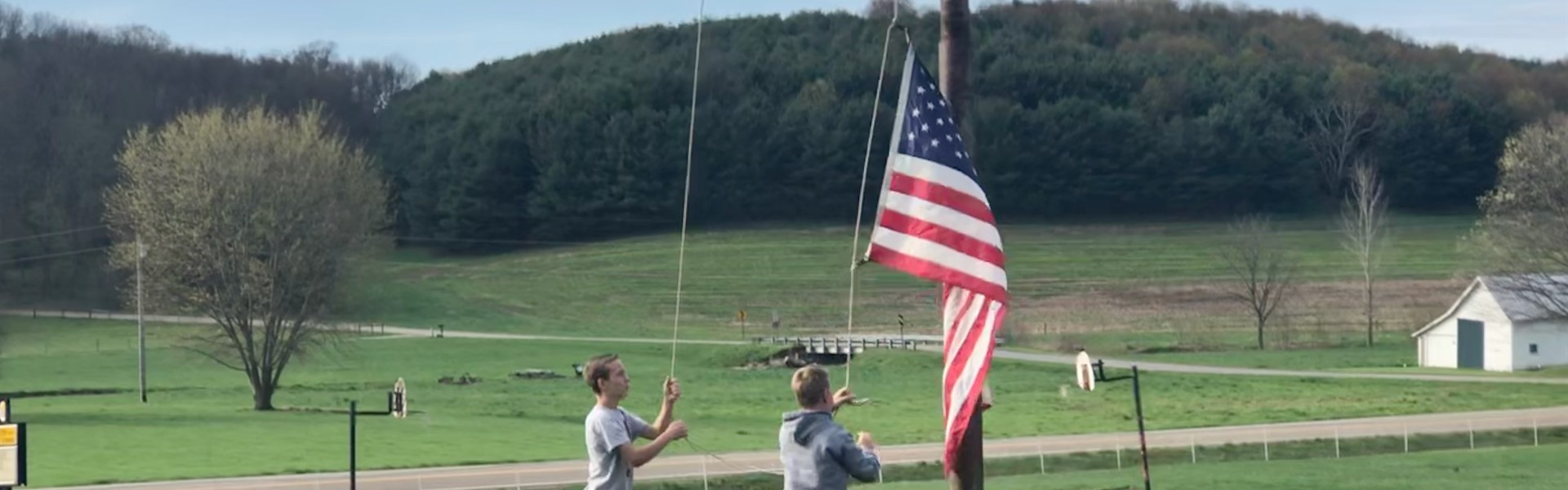 Rising the American Flag at Union Elementary