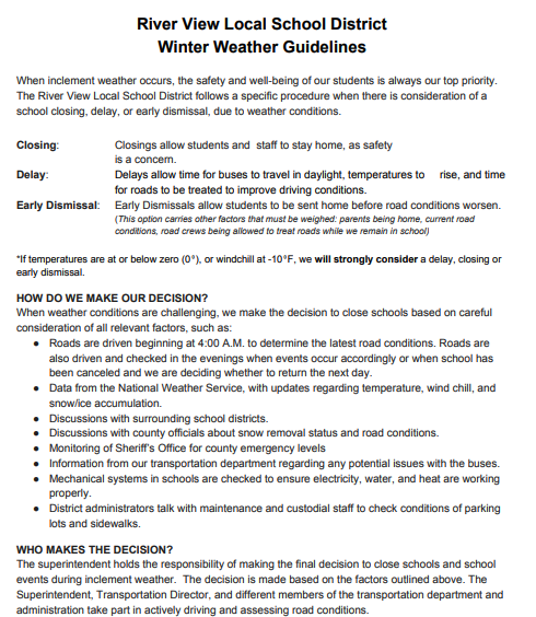 Winter Weather Guidelines - Part 1
